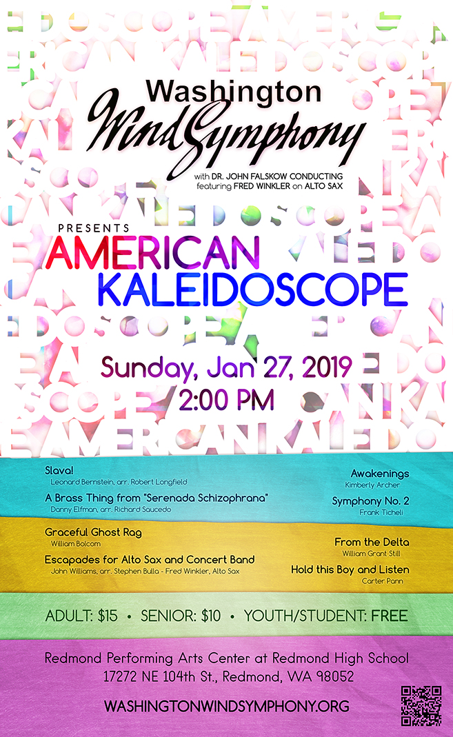 "Poster for ""the Washington Wind Symphony presents: American Kaleidoscope"""
